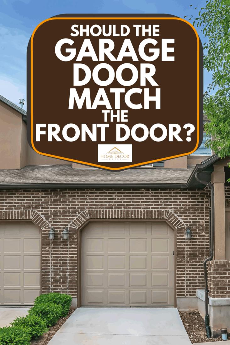 Two garage doors and white front door decorated with wreath, Should The Garage Door Match The Front Door?