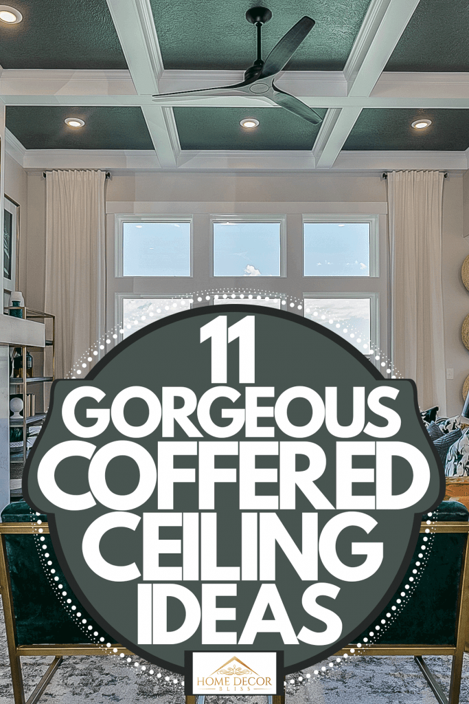 Interior of a luxurious living room with white painted walls, modern furniture's with indoor plants, and a gorgeous coffered ceiling, 11 Gorgeous Coffered Ceiling Ideas