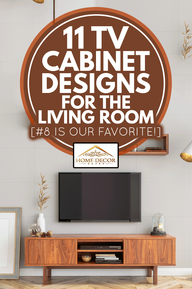 Interior hipster smart tv and blank picture poster frame, 11 TV Cabinet Designs For The Living Room [#8 Is Our Favorite!]