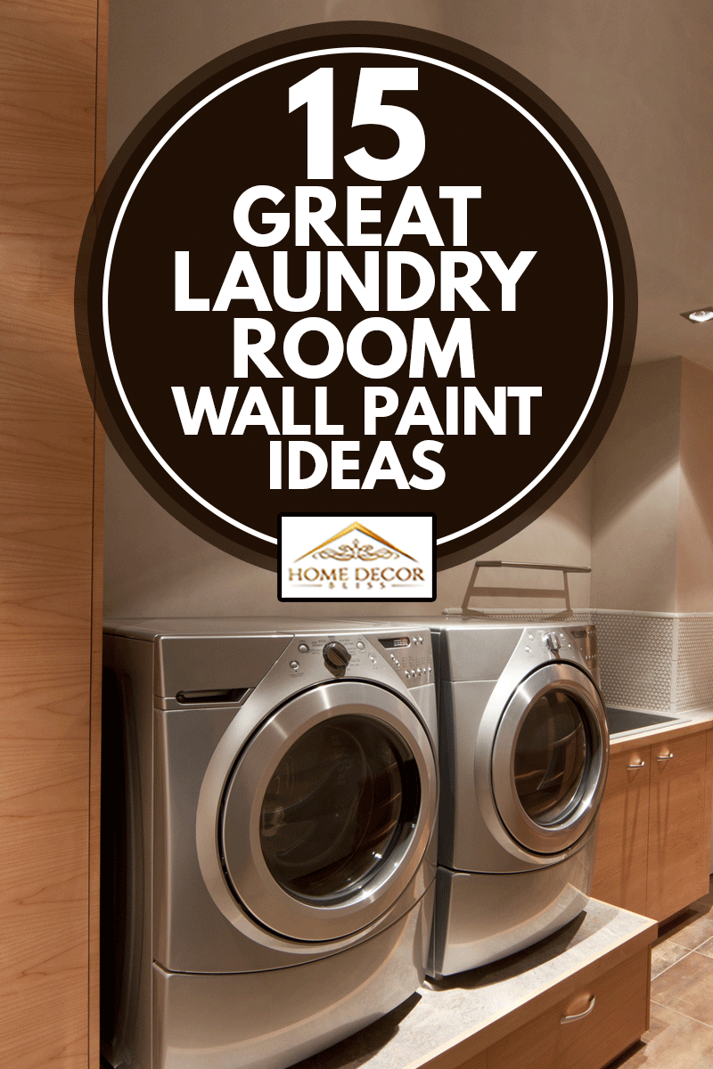 Close up of a front loader washer and dryer in caramel brown pain laundry room, 15 Great Laundry Room Wall Paint Ideas