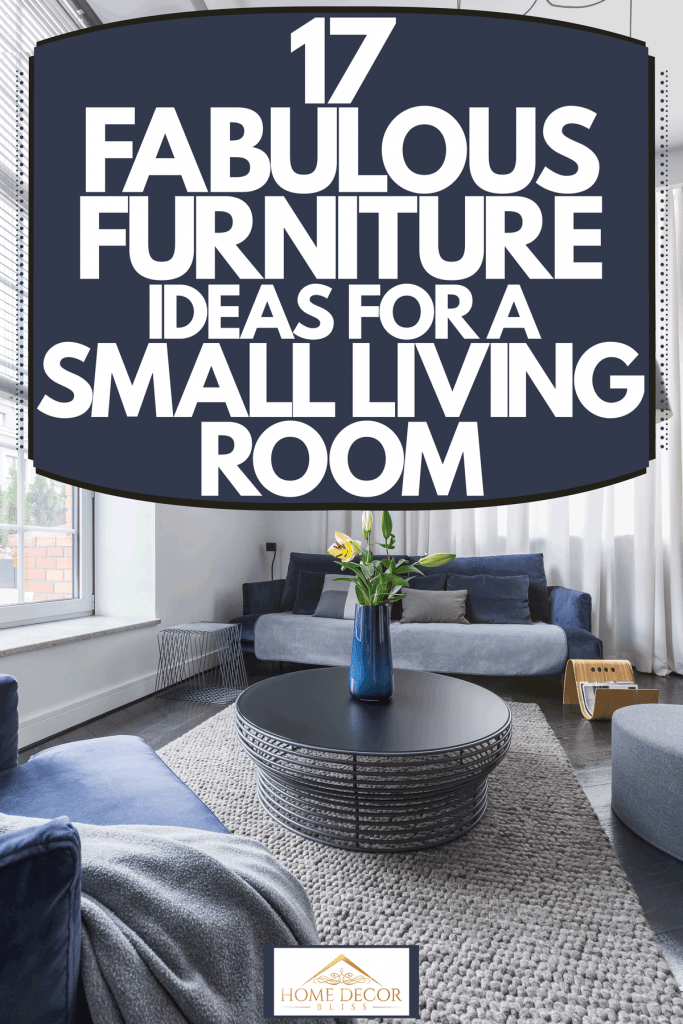 Interior of a modern contemporary living room with white couches, black round coffee table, and a gray carpet, 17 Fabulous Furniture Ideas For A Small Living Room