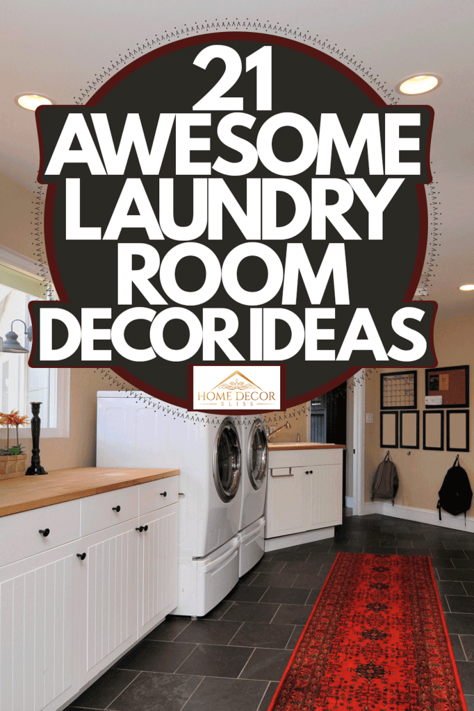 Modern laundry room with white paneled cabinetry, wooden countertop, and two washing machines on the side. 21 Awesome Laundry Room Decor Ideas