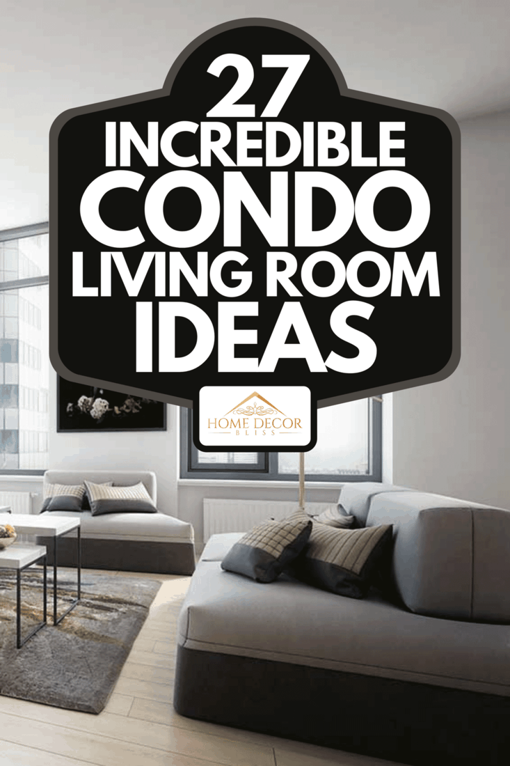 A modern condo living room interior with wooden floor, sofa, standing lamp and bookshelves, 27 Incredible Condo Living Room Ideas