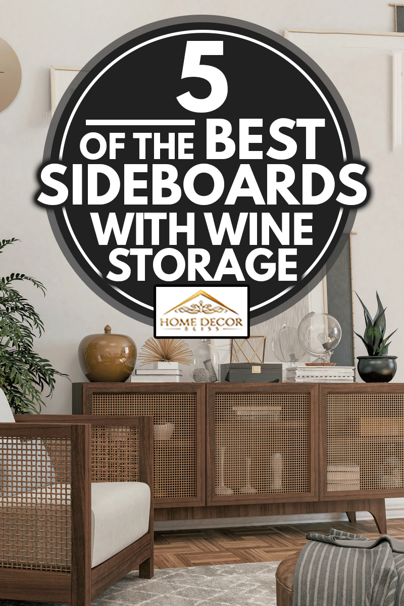 Living room with rustic Armchair, Sideboard, and decoration, 5 of the Best Sideboards With Wine Storage