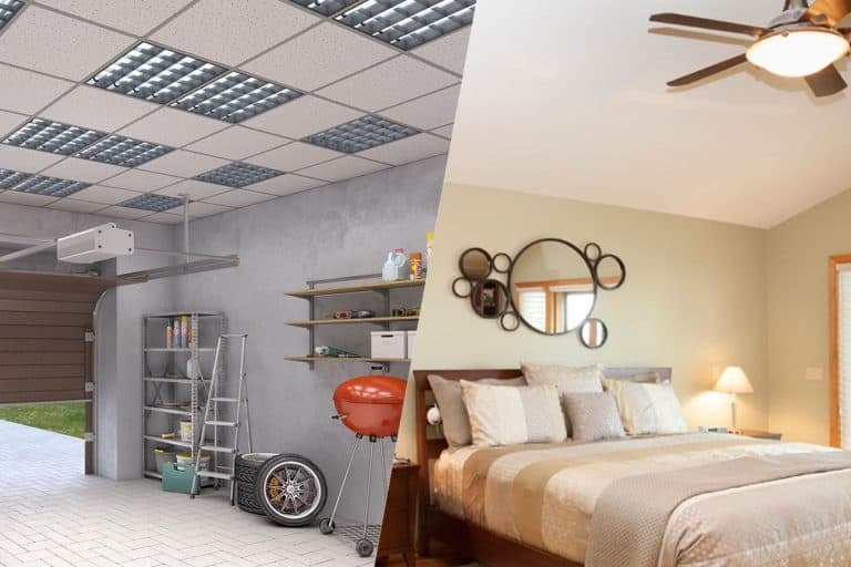 A collage of garage with dropped ceiling and a bedroom with drywall ceiling, Dropped Ceiling Vs Drywall: Best Option By Room