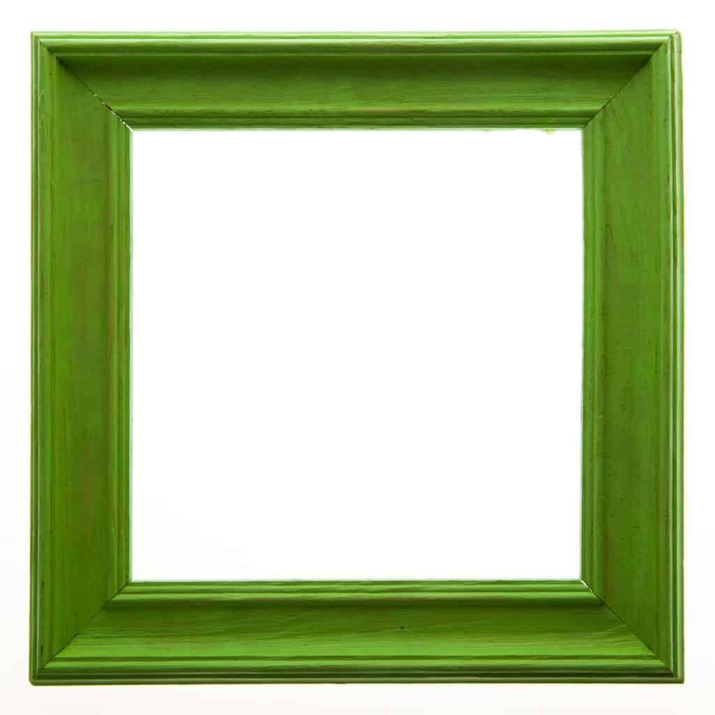 A square green colored picture frame