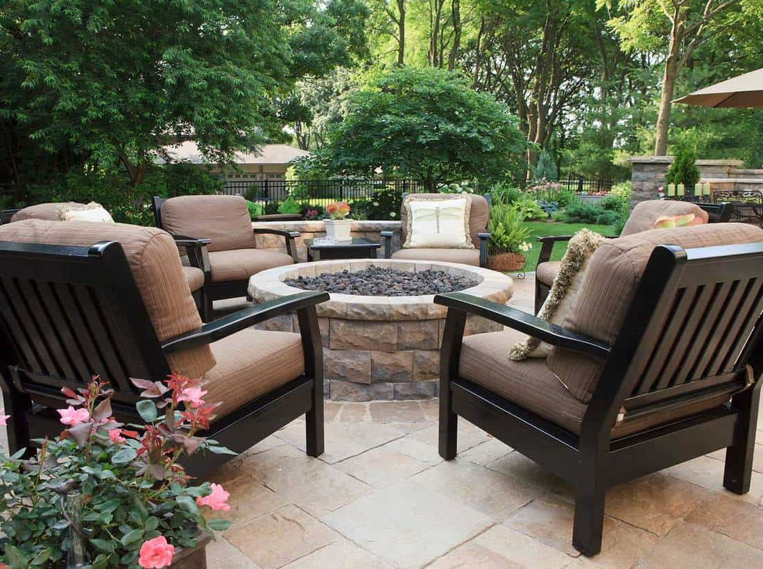 Above-ground fire pit on a beautiful stone patio
