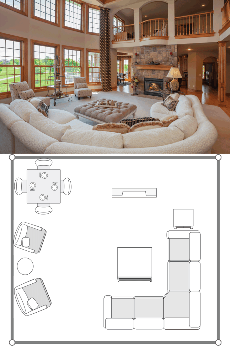 Amazing Great Room With Second story Balcony. 20X20 Living Room Layout Ideas