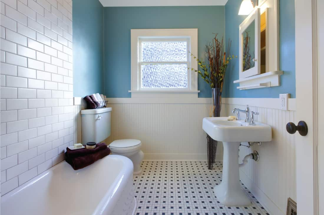 Antique luxury design of sky blue bathroom with black and white tiles