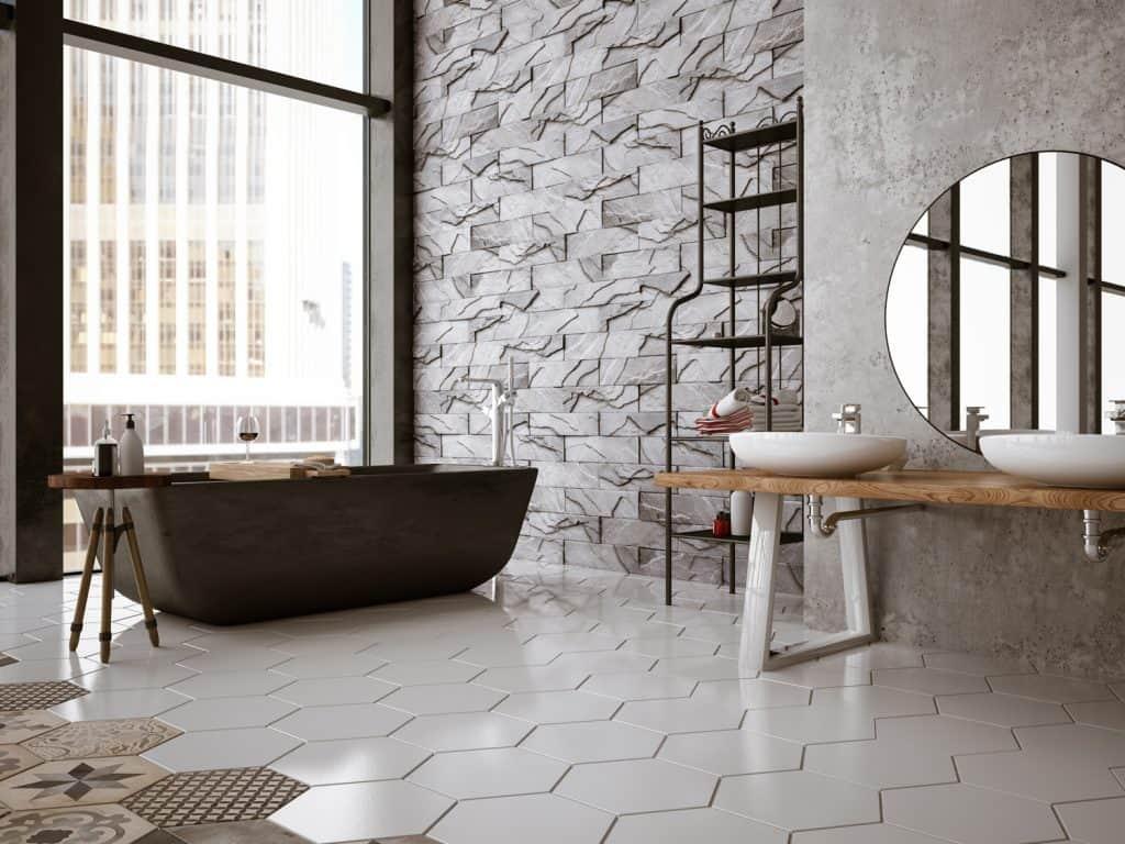 Bathtub in the modern interior with dark wood