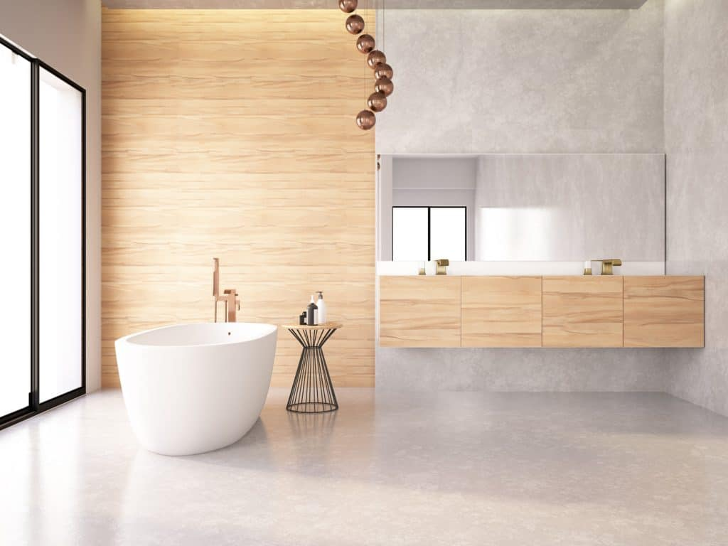 Bathtub in the modern interior with marble floor