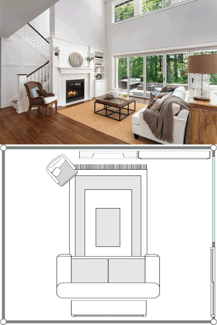 Beautiful living room interior with hardwood floors and fireplace in new luxury home with sliding glass doors and vaulted ceiling. 20X20 Living Room Layout Ideas
