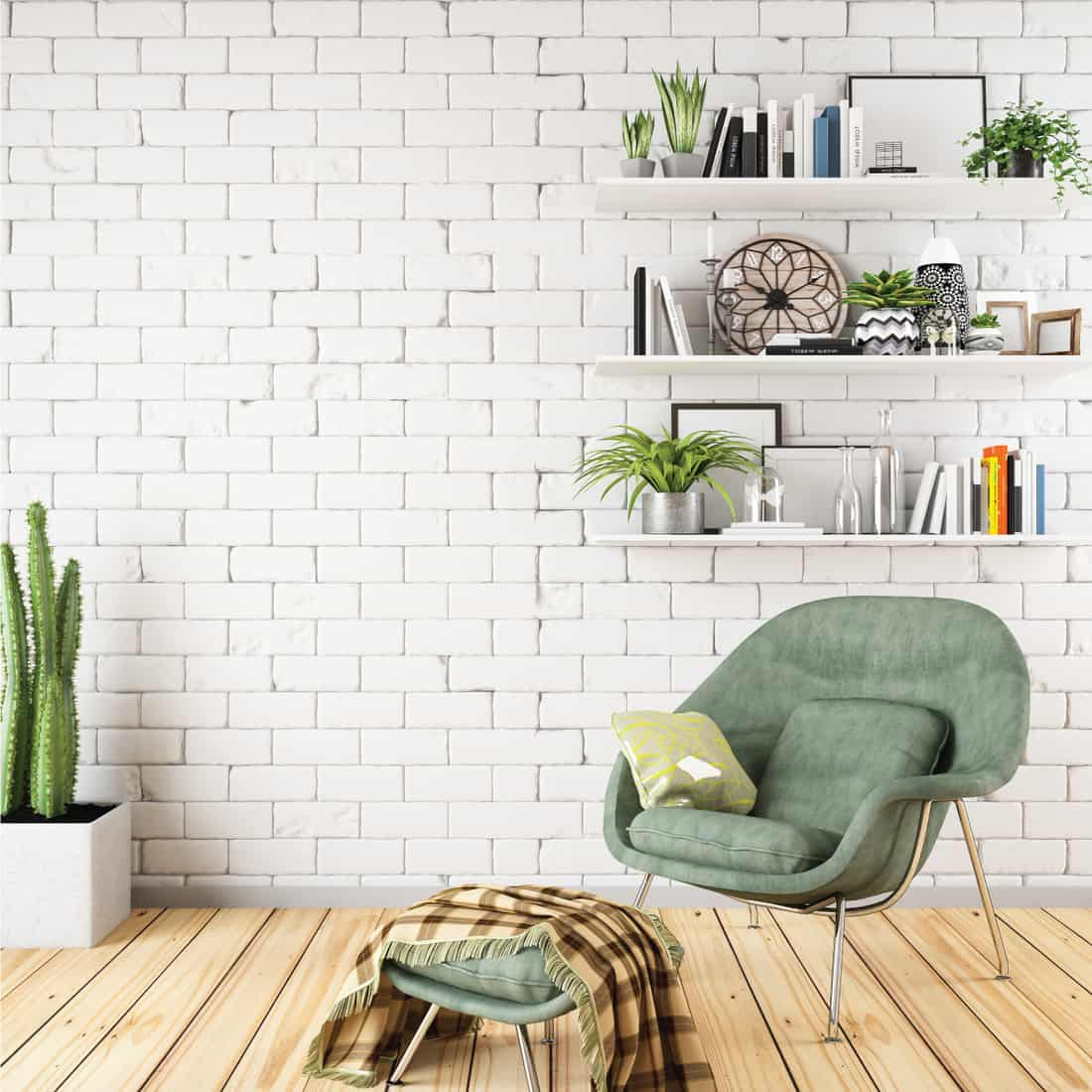 Bright cozy interior with armchair and Classic Floating Shelves