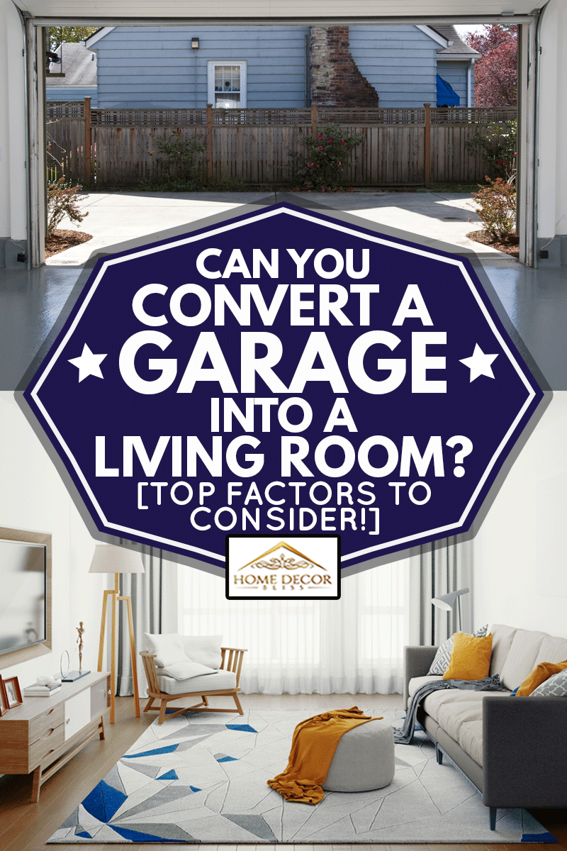A collage of an empty garage and a modern living room, Can You Convert A Garage Into A Living Room? [Top Factors To Consider!]