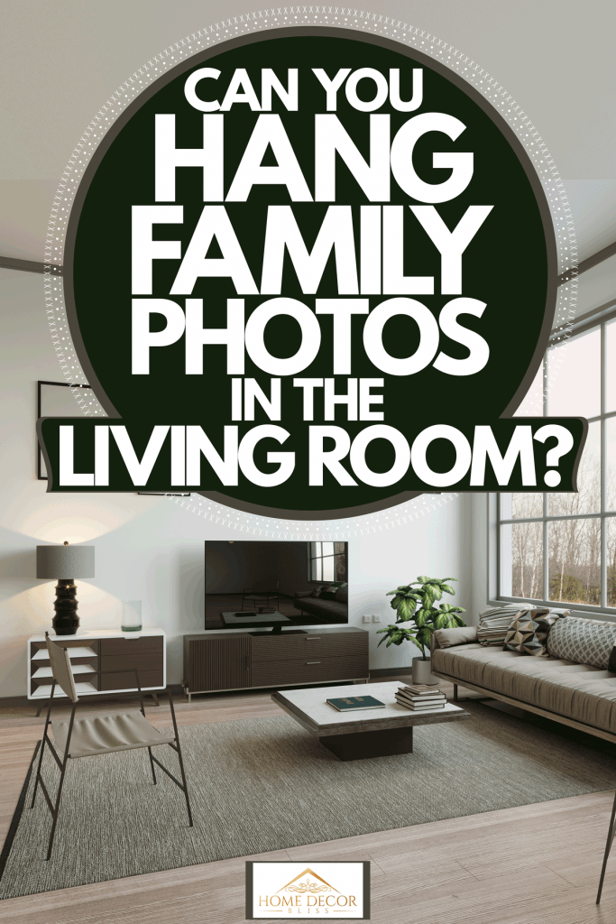 Interior of a modern living room with luxurious styled couches and a huge window, Can You Hang Family Photos In The Living Room?