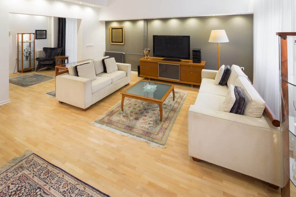 Contemporary living room with sideboard TV stand