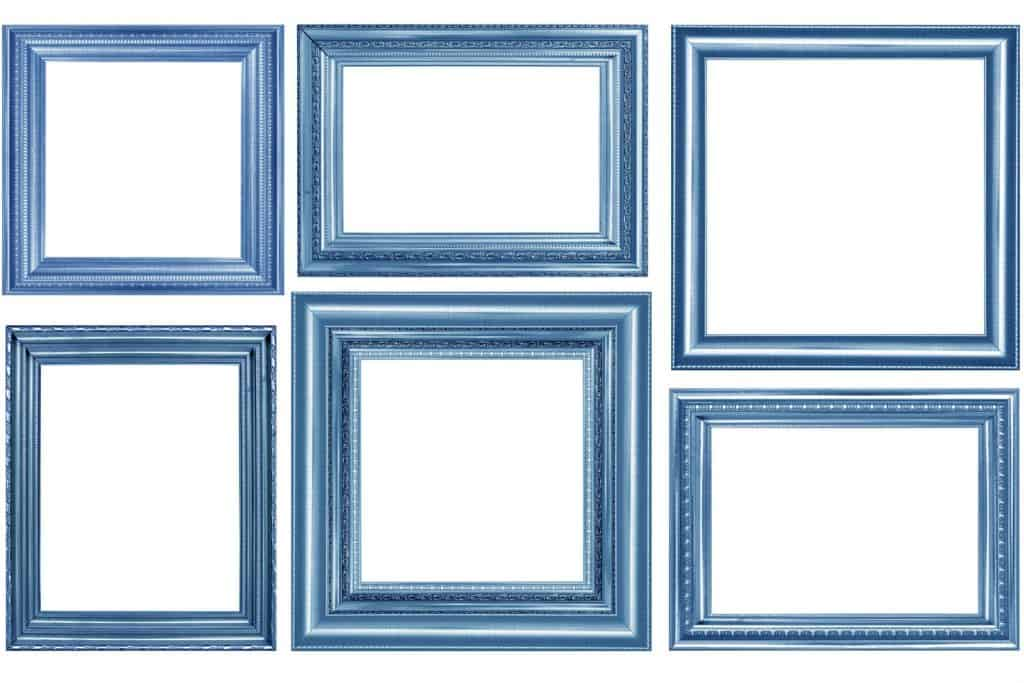 Different frames sizes of blue colored picture frames
