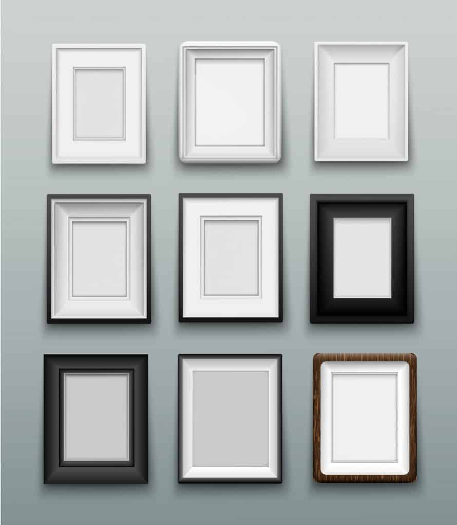 Different illustrations of picture frames and different border sizes