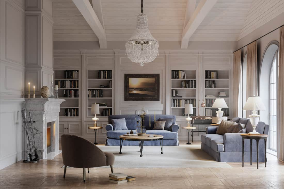 Digital image of a beautiful living room of a large house in the style of a long island house with classic and opulent lighting