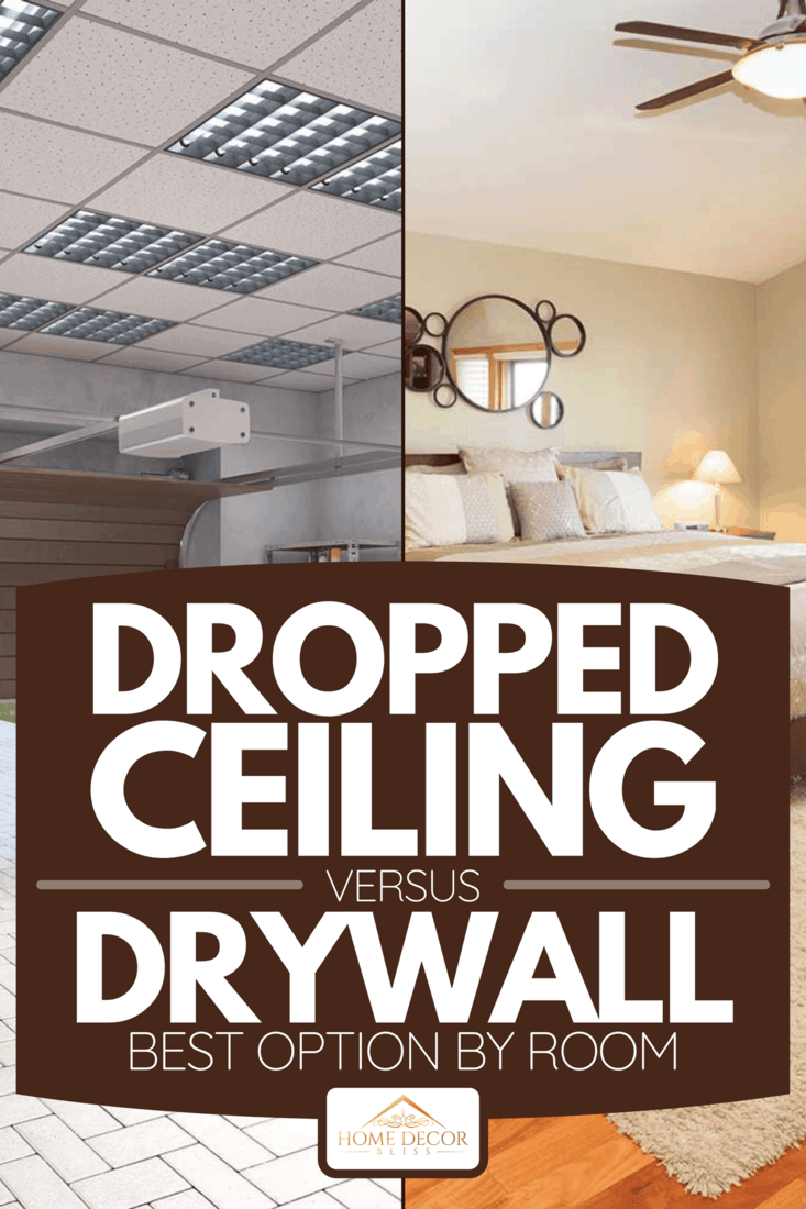 Collage of garage with dropped ceiling and a bedroom with drywall ceiling, Dropped Ceiling Vs Drywall: Best Option By Room