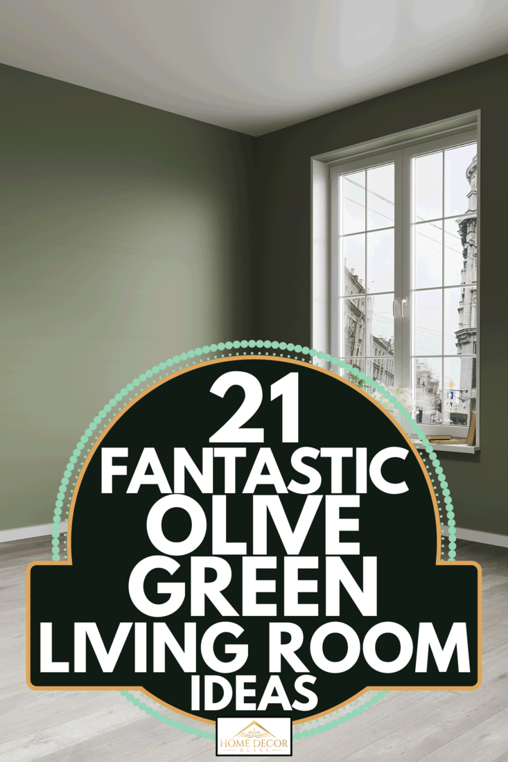 Empty room with olive walls and wood floor. 21 Fantastic Olive Green Living Room Ideas