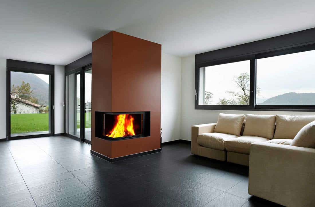 Fireplace in living room in the mountains