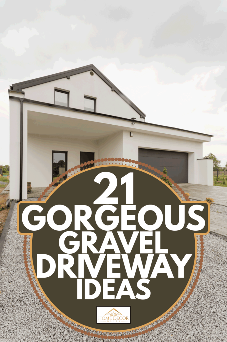 Front of modern house with gravel driveway. 21 Gorgeous Gravel Driveway Ideas