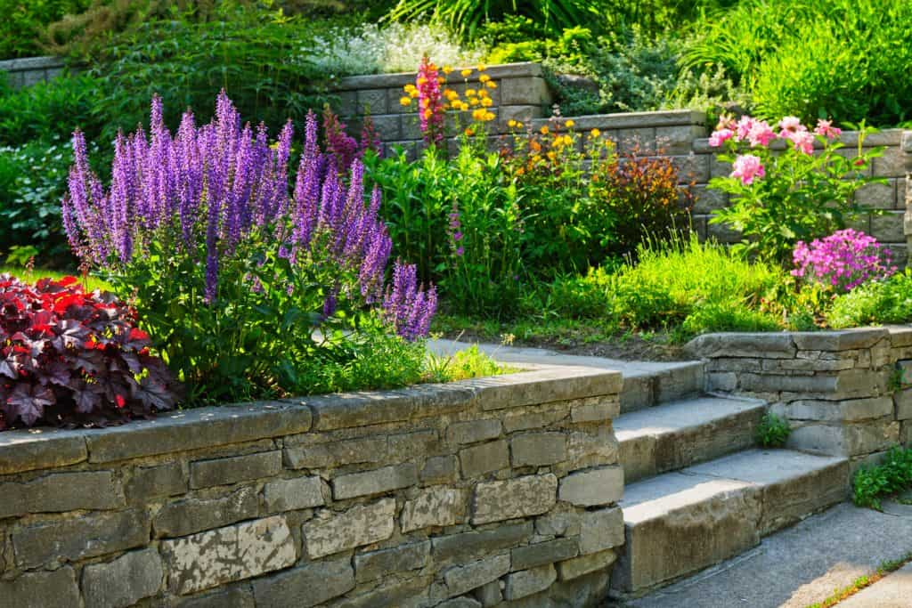Garden with stone fence and landscaping