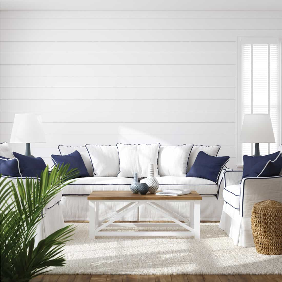 Hampton style living room interior with White With Blue Accents
