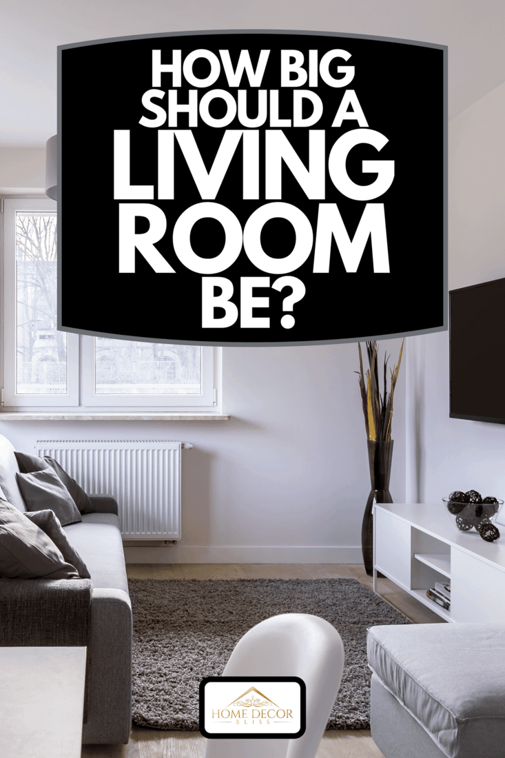 A modern living room with table, couch and television, How Big Should A Living Room Be?