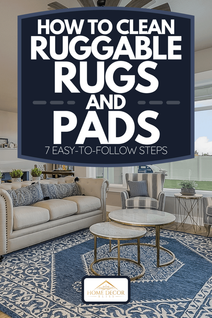 A farmhouse style ceiling fan and decorative rug in front family room, How To Clean Ruggable Rugs And Pads [7 Easy-To-Follow Steps]