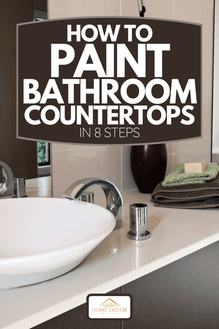 Contemporary bathroom with brown cabinets, white double sink and towels on countertop, How To Paint Bathroom Countertops In 8 Steps