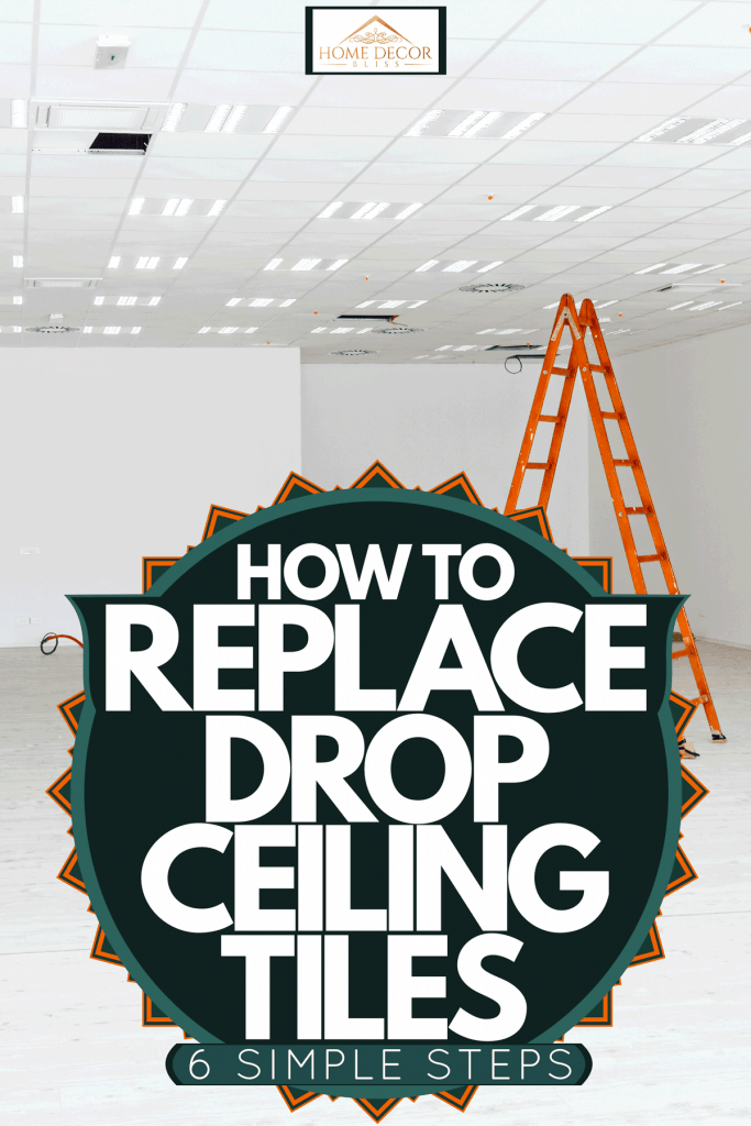 An unfinished and empty living room with white wall and drop ceiling, How To Replace Drop Ceiling Tiles In 6 Simple Steps