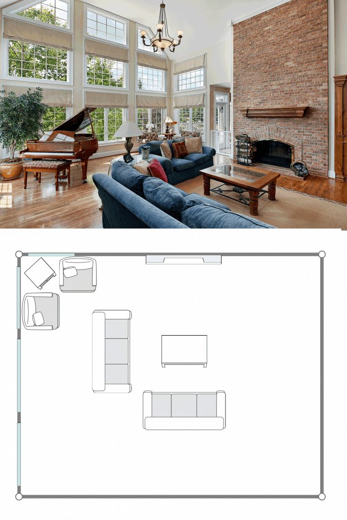 Huge interior of a living room with a rustic inspired design huge brick walled fr