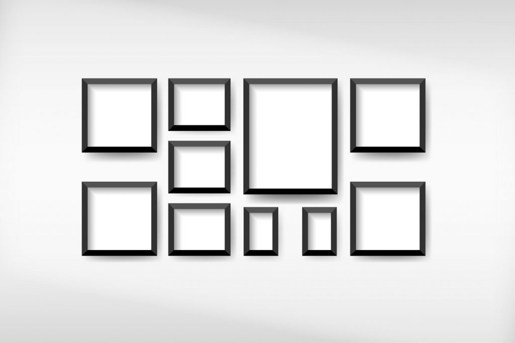 Illustration of different colored sizes on a white background