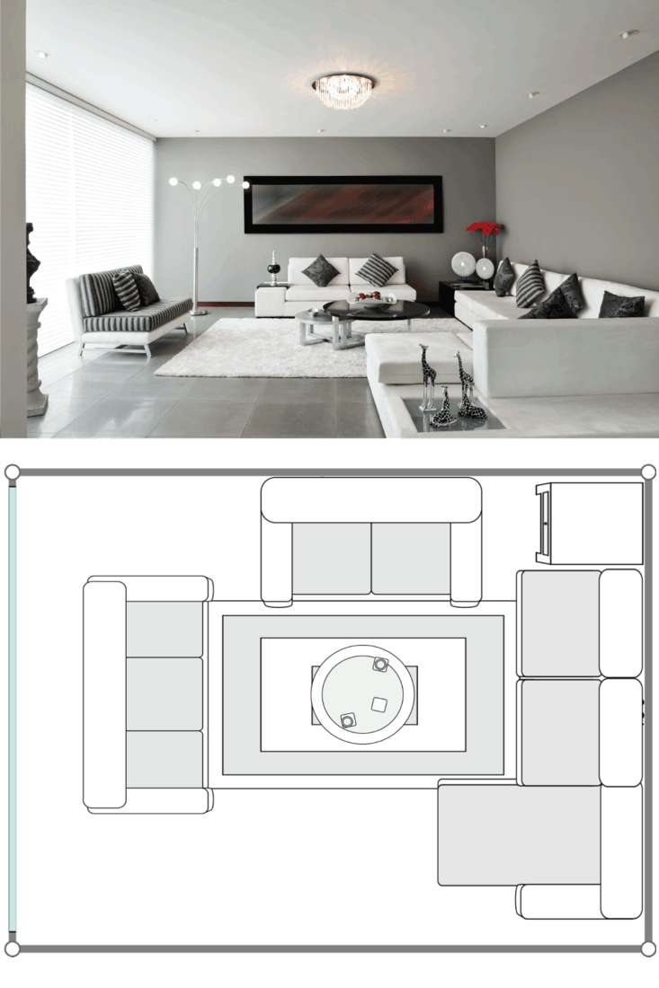 Interior Design Living room with white sofa, white carpet.png