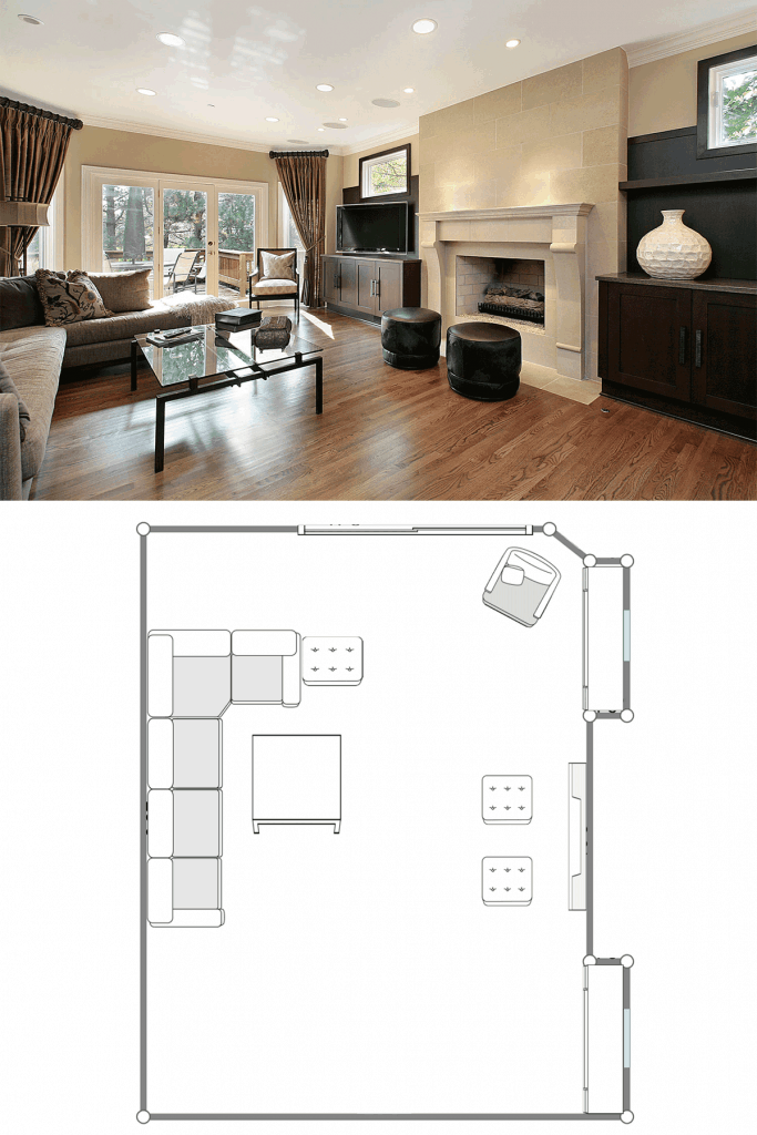 Interior of a spacious and rustic inspired living room with beige painted walls