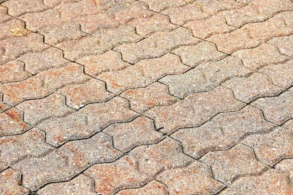 Interlocking pavers on a driveway