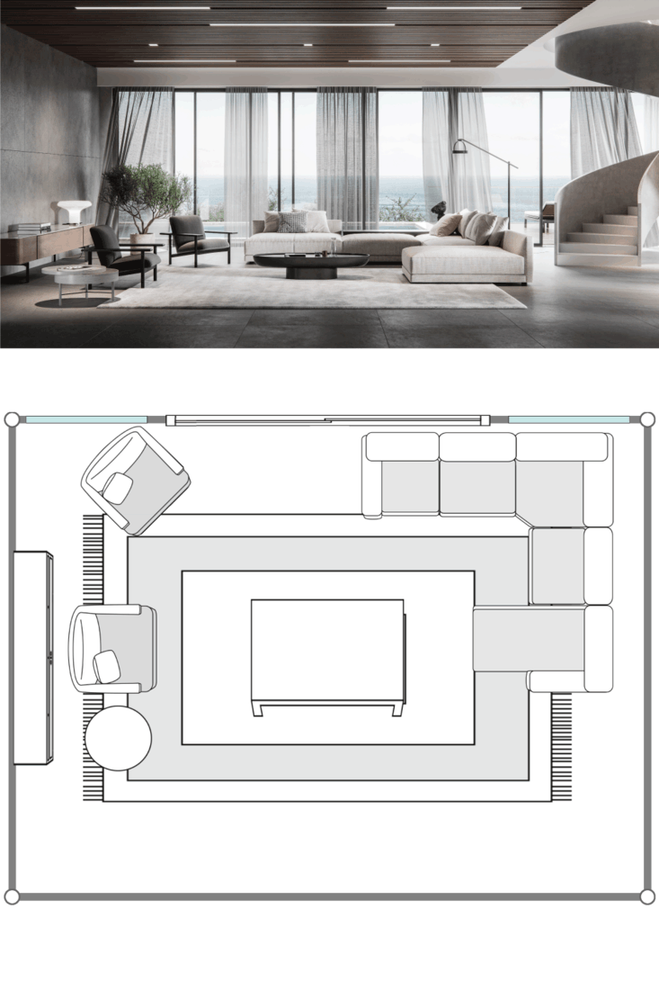 Large and luxurious interiors of a modern living room in 3d. Digitally generated image of a fully furnished living room.