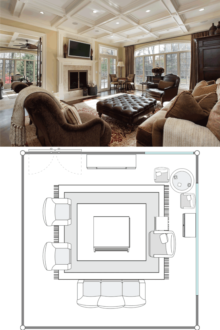 Large family room with fireplace. 20X20 Living Room Layout Ideas