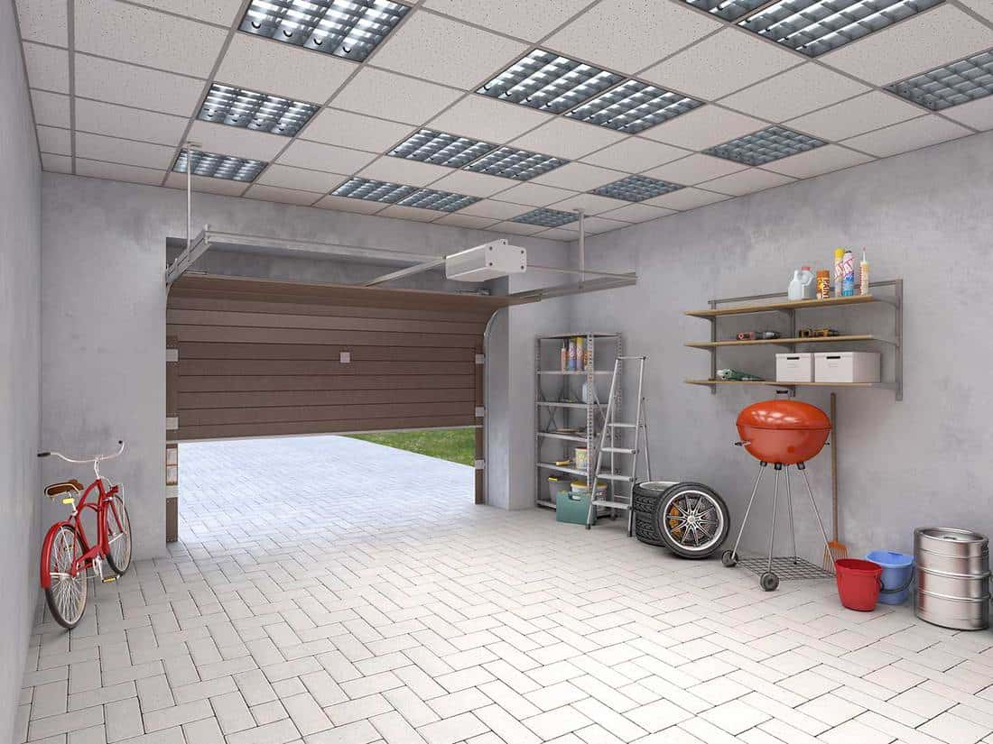 Large garage with marble tiles