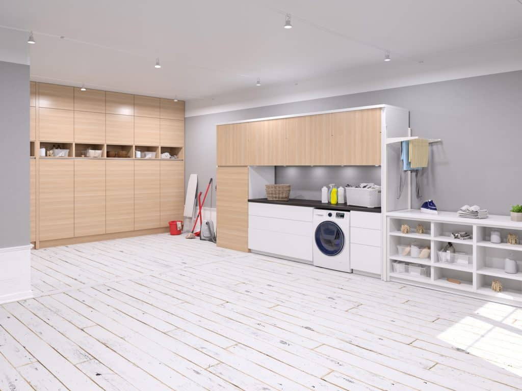 Large laundry room with modern grey paint color