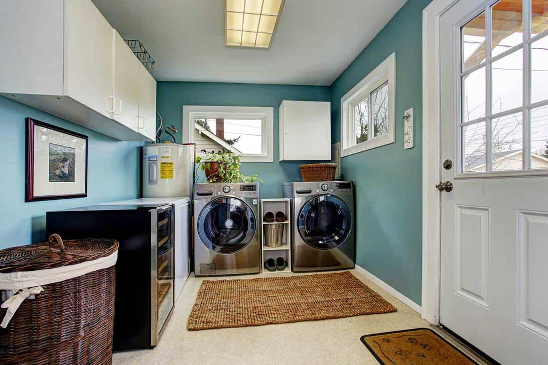 Laundry room with modern steel appliances