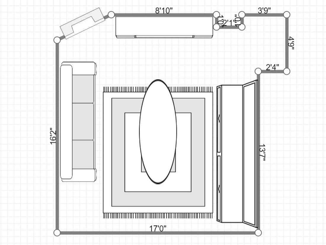 Layout of a basement living room interior with modern furniture and entertainment
