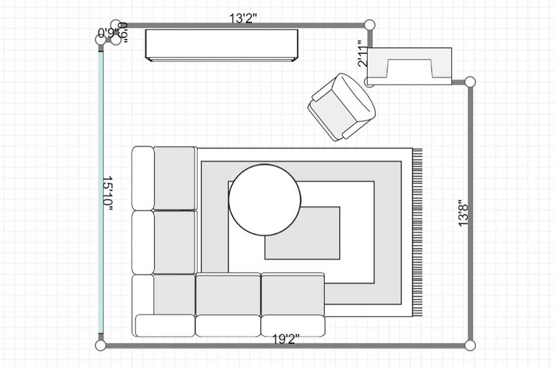Layout of a bright Scandinavian living room interior with fireplace, coffee table and corner sofa