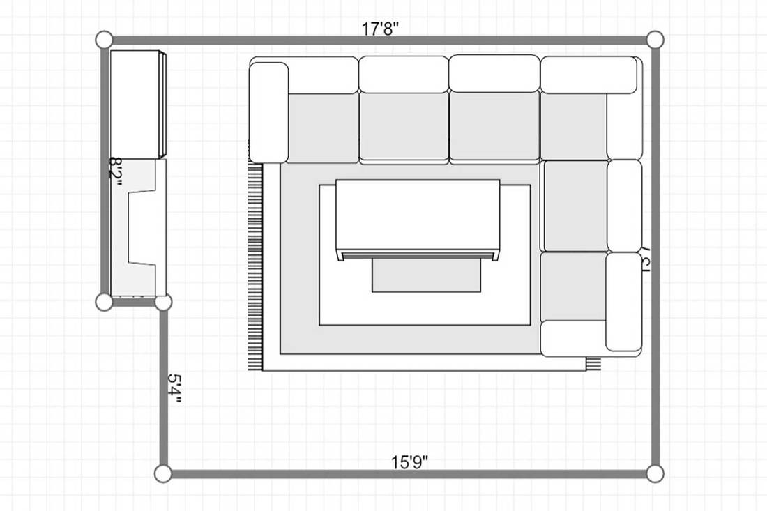 Layout of a cozy living room interior surrounded with luxury furniture and fireplace