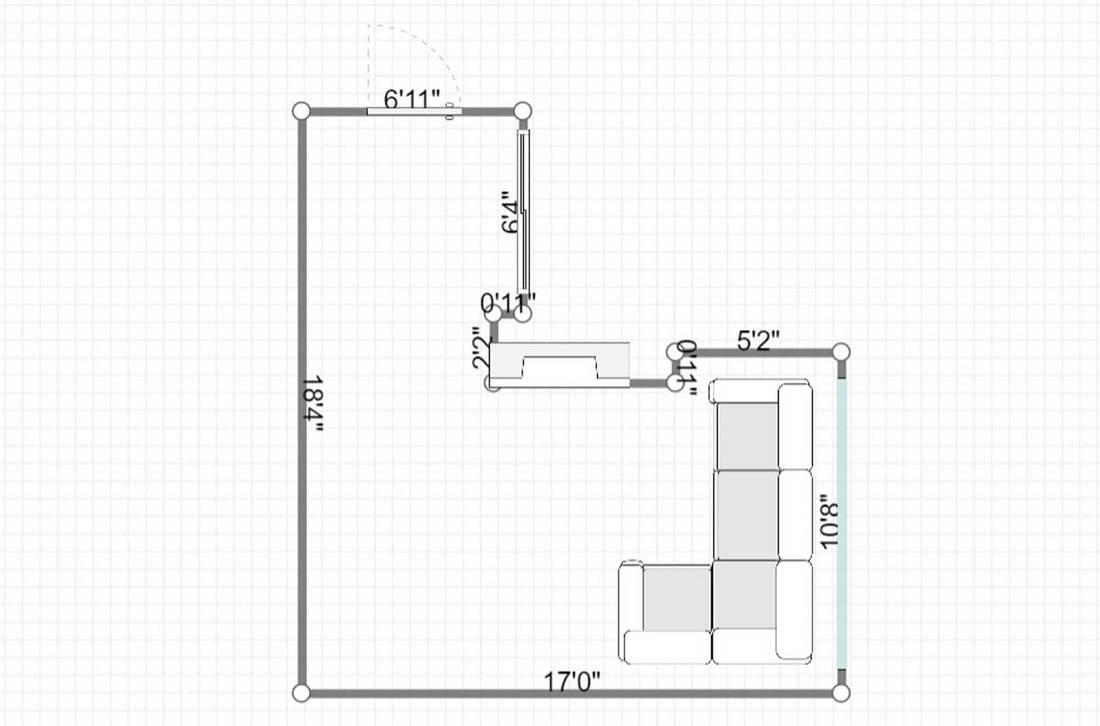 Layout of a fireplace in living room in the mountains