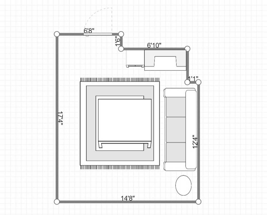 Layout of a modern living room interior with white sofa, blue wooden coffee table and carpet on parquet floor