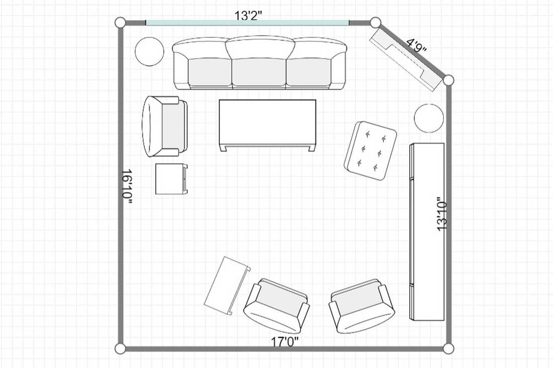 Layout of a modern living room with corner fireplace, white sofa and glass coffee table