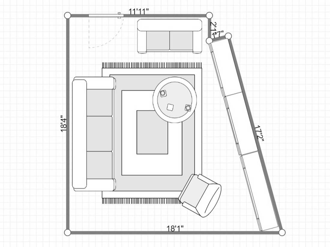Layout of living room in a modern style with cozy sofa set and carpet on floor